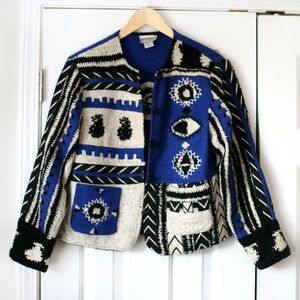 Coldwater Creek blue/black wool patchwork jacket